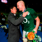 Ronan O'Gara congratulates Paul O'Connell after Ireland's 2014 Six Nations triumph. Photo: Sportsfile