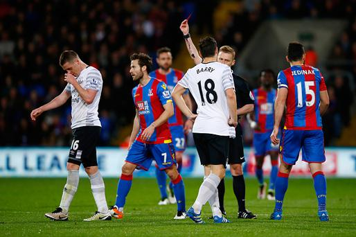 LONDON, ENGLAND - APRIL 13: James McCarthy of Everton is shown a red card during the Barclays Premier League match between Crystal Palace and Everton at Selhurst Park on April 13, 2016 in London, England. (Photo by Christopher Lee/Getty Images)
