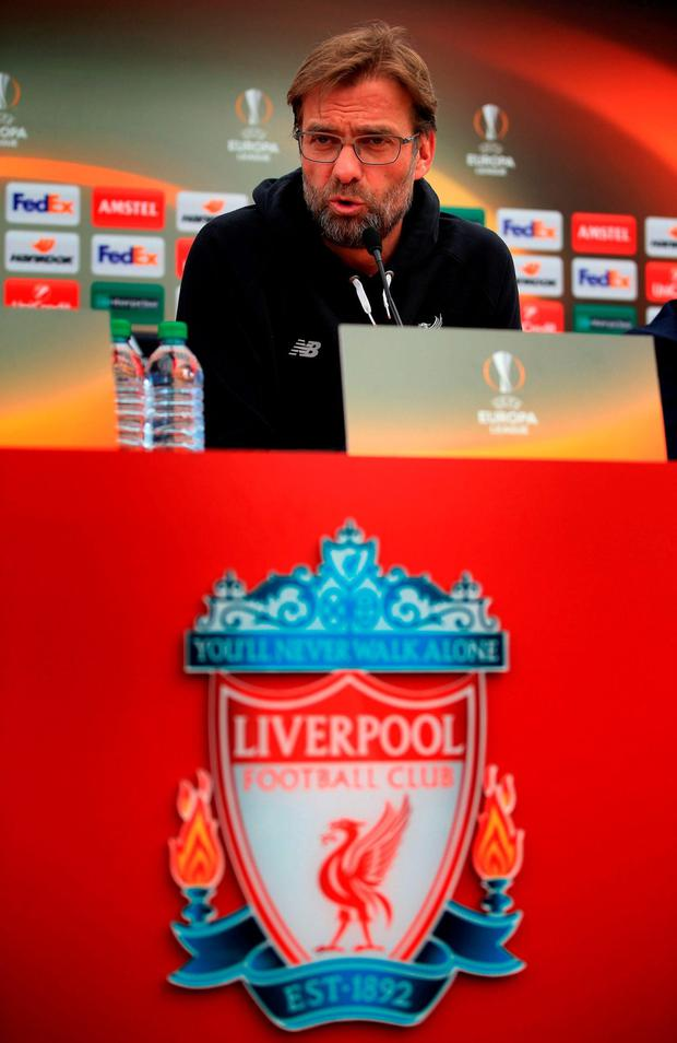 Liverpool manager Jurgen Klopp is pictured during a press conference at Melwood Training Ground, ahead of tonight's Europa League quarterfinal second leg clash with Borussia Dortmund at Anfield. Photo: PA