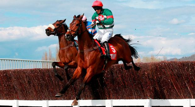 Voix D'Eau ridden by Michael Legg on their way to victory at Cheltenham yesterday (PA)