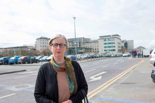 Sheelagh Conway outside University Hospital Galway yesterday. Photo: Andrew Downes