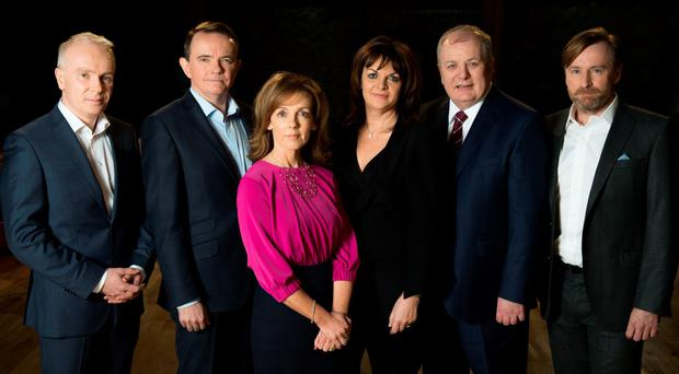 From left: 'Dragons' Den' presenter Richard Curran with Dragons Barry O'Sullivan, Alison Cowzer, Eleanor McEvoy, Gavin Duffy and Eamonn Quinn