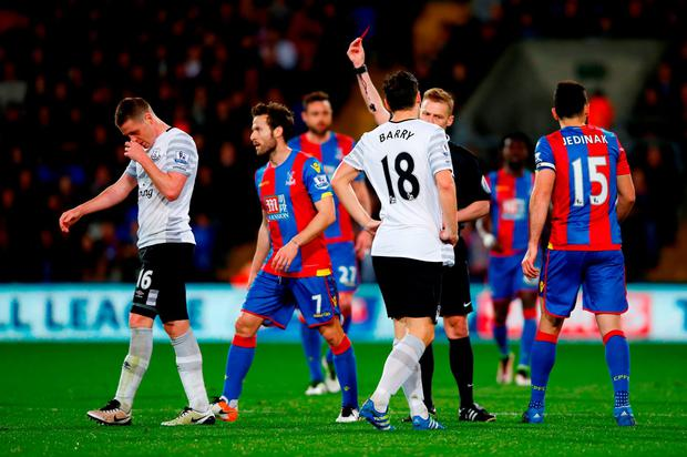 James McCarthy of Everton is shown a red card. Photo: Getty