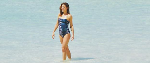 Amanda Byram enjoys the crystal-clear waters of the Laccadive Sea. Photo: Instagram