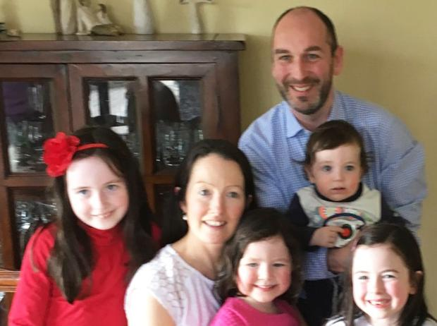 Brendan Mooney pictured with his wife Orlene and children Ella (8) Sadbh (6) Roisin (4) and Senan (1)