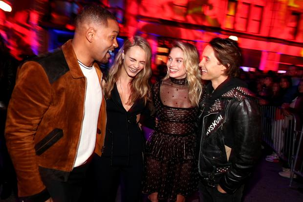 Will Smith, Cara Delevingne, Margot Robbie and Jared Leto, the stars of Suicide Squad.