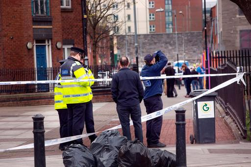 Gardai at scene of shooting at Sheriff Street this afternoon