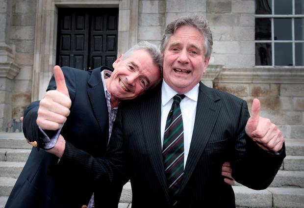 Michael O'Leary clowns around with outgoing Senator Sean Barrett after the Ryanair chief executive spoke at Trinity College about the Brexit referendum. Photo: Tom Burke