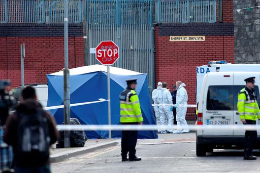 Gardaí at the scene on Sheriff Street. Photo: RollingNews.ie