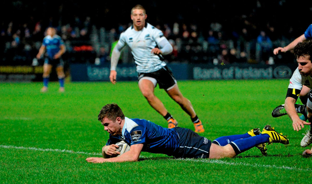 Luke McGrath scores a try for Leicester against Zebre in the Pro12 Photo: Sportsfile