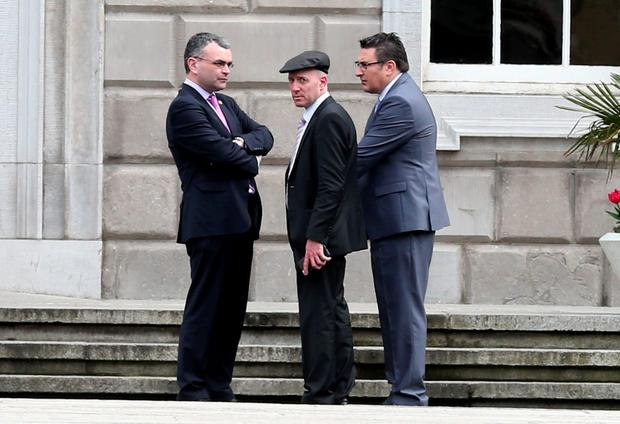 Independent Michael Healy Rae and Fianna Fáil TD Dara Calleary at Leinster House ahead of the Dail vote for Taoiseach. Photo: Laura Hutton/Collins Photo Agency