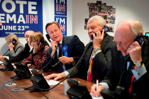 Prime Minister David Cameron helps to campaign for a 'Remain' vote in the forthcoming EU referendum at a phone centre in London today along with fellow pro EU campaigners, Lord Ashdown, Lord Kinnock, Tessa Jowell, Baroness Kinnock and Amber Rudd. Photo: PA