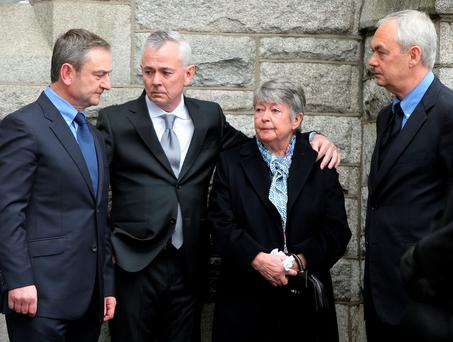 Maureen Kenny with family members at the funeral of husband Ivor Kenny in Donnybrook. Photo: Gerry Mooney