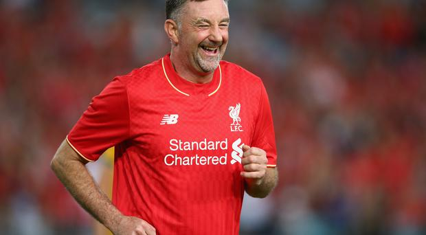 SYDNEY, AUSTRALIA - JANUARY 07: John Aldridge of the Liverpool FC Legends celebrates scoring a goal during the match between Liverpool FC Legends and the Australian Legends at ANZ Stadium on January 7, 2016 in Sydney, Australia. (Photo by Mark Kolbe/Liverpool FC via Getty Images)