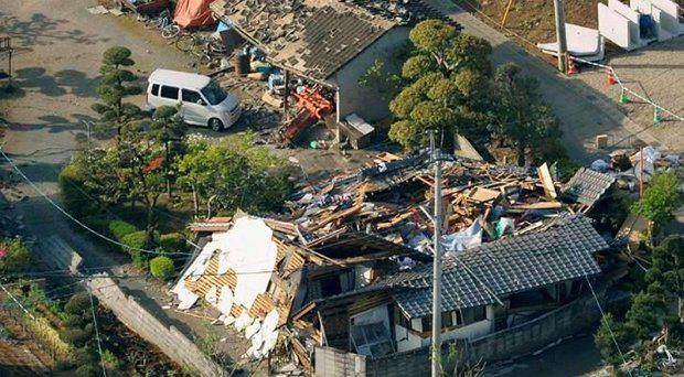 Collapsed houses caused by an earthquake are seen in Mashiki town, Kumamoto prefecture, southern Japan Credit: Reuters