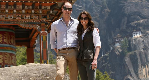Prince William, Duke of Cambridge and Catherine, Duchess of Cambridge pose next to a prayer wheel on the trek up to Tiger's Nest during a visit to Bhutan on the 15th April 2016 in Thimphu, Bhutan. (Photo by Chris Jackson/Getty Images)