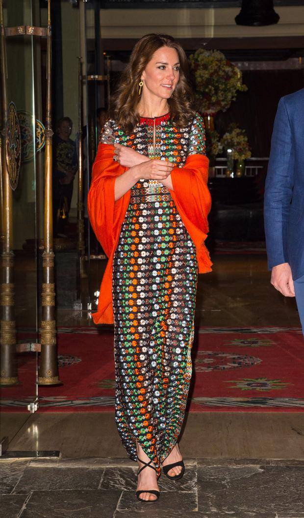 Catherine, Duchess of Cambridge leaves the Taj Tashi hotel to attend a dinner with King Jigme Khesar Namgyel Wangchuck and Queen Jetsun Pema on day five of the royal tour to India and Bhutan on April 14, 2015 in Thimphu, Bhutan. (Photo by Dominic Lipinski - WPA Pool/Getty Images)