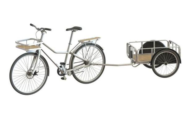 A bicycle trailer can be hitched up to the Sladda Credit: IKEA