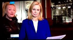 Martina Fitzgerald is interrupted during her report on the Nine O'Clock News