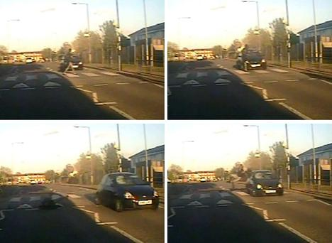 CCTV stills issued by the Metropolitan Police of the moment a woman was knocked over (clockwise, from top left) when a car failed to stop at a pedestrian crossing on Siviter Way in Dagenham, East London. Photo: Metropolitan Police/PA Wire