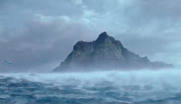 Screengrab: The Millennium Falcon approaches Skellig Michael in a scene from Star Wars: The Force Awakens.