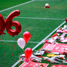 Balloons make the number '96' during a memorial service at Anfield in Liverpool, north west England on April 15, 2016, on the 27th anniversary of the Hillsborough Disaster. 96 Liverpool supporters died at the 1989 FA Cup semi-final between Liverpool and Nottingham Forest at the Hillsborough football ground in Sheffield, northern England. 2016 will be the final year a memorial service is held at Anfield. / AFP PHOTO / PAUL ELLISPAUL ELLIS/AFP/Getty Images