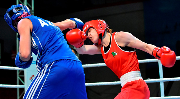 Katie Taylor (r) exchanges punches with Yana Alekseevna of Azerbaijan at the European Olympic qualification event in Samun, Turkey yesterday Photo: Sportsfile