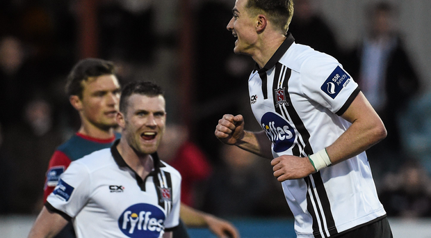 15 April 2016; Ronan Finn, Dundalk, celebrates scoring his side's first goal from a penalty. SSE Airtricity League, Premier Division, Bohemians v Shamrock Rovers. Oriel Park, Dundalk, Co. Louth. Picture credit: Oliver McVeigh / SPORTSFILE