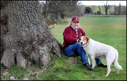 Horse trainer Mouse Morris looks on with his one eyed dog EJ (short for Eddie Jordan) as his horses are exercised near his stables in Fethard Co Tipperary. Pic: Steve Humphreys