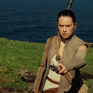 Daisy Ridley in a scene from 'Star Wars' shot on the Skelligs