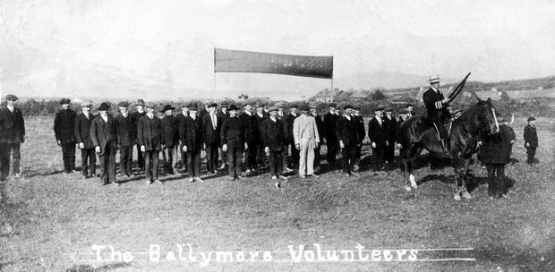 Main image: The Ballymore Volunteers in Co Kerry; far right: Austin Stack, the commander of the Volunteers and IRB in Kerry; and, inset below, JJ McElligott, a Kerry Volunteer who later become governor of the Central Bank