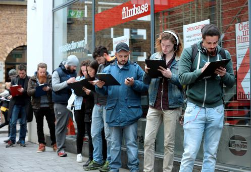 15 Apr 2016: General view of queue for Open Casting for movieextras.ie. Filmbase, Temple Bar, Dublin. Picture: Caroline Quinn
