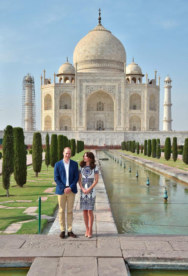 The Duke and Duchess of Cambridge during a visit to the Taj Mahal in India during day seven of the Royal tour to India and Bhutan