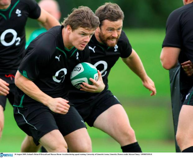 Ireland's Brian O'Driscoll and Marcus Horan