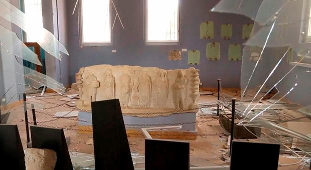 The Syrian official news agency SANA, shows destroyed statues at the damaged Palmyra Museum, in Palmyra city, central Syria. (SANA via AP, File)