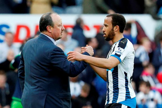 Newcastle United with manager Rafael Benitez shakes hands with Andros Townsend after the game
