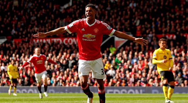 Marcus Rashford celebrates after scoring the first goal for Manchester United Action Images via Reuters / Jason Cairnduff