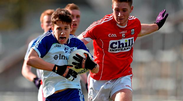 16 April 2016; Francis Maguire, Monaghan, in action against Kevin Flahive, Cork. Eirgrid GAA Football Under 21 All-Ireland Championship semi-final, Cork v Monaghan. O'Connor Park, Tullamore, Co. Offaly. Picture credit: Brendan Moran / SPORTSFILE