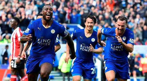 Captain Wes Morgan celebrates his late winner against Southampton as Leicester maintained the form that has taken them to the brink of the title with six clean sheets in their last seven games. Photo: Ben Stansall/AFP/Getty Images
