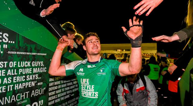 16 April 2016; Robbie Henshaw, Connacht, following his side's victory. Guinness PRO12 Round 20, Connacht v Munster. The Sportsground, Galway. Picture credit: Stephen McCarthy / SPORTSFILE