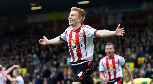 Duncan Watmore celebrates after scoring the third goal for Sunderland. Photo: Alan Walter/Action Images via Reuters