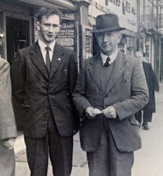 THE MAN FROM GRANARD: Aodan Fullam (Gemma's dad) with his father, James Fullam, in Dublin in 1955