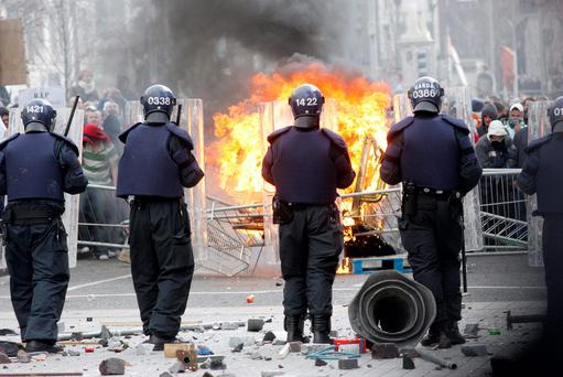 MAYHEM: Gardai fear a repeat of the riots during the 2006 'Love Ulster' march or threat of dissident republicians. Photo: Liam Mulcahy