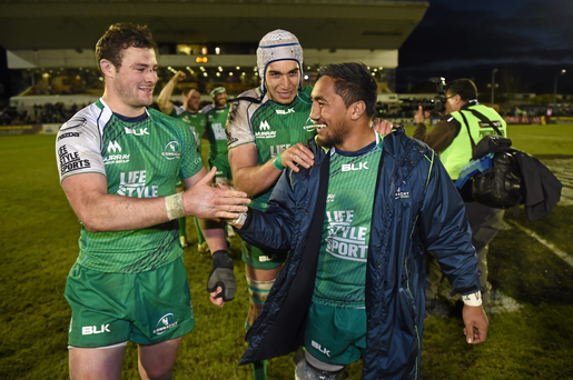 16 April 2016; Connacht players, from left, Robbie Henshaw, Ultan Dillane and Bundee Aki following their victory. Guinness PRO12 Round 20, Connacht v Munster. The Sportsground, Galway. Picture credit: Stephen McCarthy / SPORTSFILE