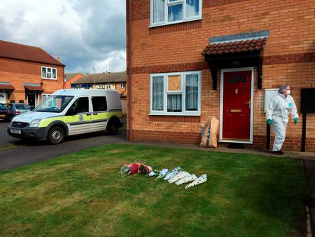 The scene outside a house in Spalding, Lincolnshire