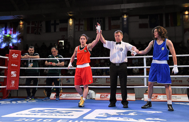 17 April 2016; Katie Taylor, Ireland, left, celebrates after beating Svetlana Staneva, Bulgaria, in their Women's Lightweight 57-60kg Box-Off bout. AIBA 2016 European Olympic Qualification Tournament Event. Samsun, Turkey. Picture credit: Paul Mohan / SPORTSFILE