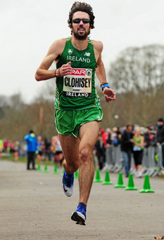 Mick Clohisey powered hosts Raheny to victory in the men's race at the GloHealth National Road Relays yesterday. Photo: Tomás Greally / Sportsfile