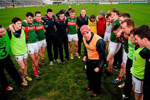 Mayo manager Michael Solan gives a teamtalk after his side's victory over Dublin in the EirGrid All-Ireland U-21 FC semi-final in O'Connor Park, Tullamore on Saturday. Photo: Sam Barnes / Sportsfile