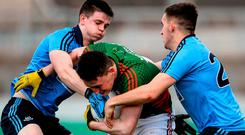 Mayo forward Liam Irwin shows his determination against Dublin's Cillian O'Shea and Michael Deegan in Saturday's EirGrid All-Ireland U-21 semi-final. Photo: Sam Barnes / Sportsfile