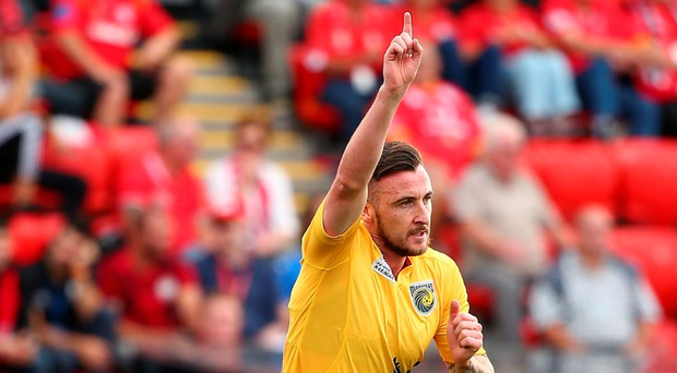 Roy O'Donovan celebrates after scoring against Adelaide United in last month's A-League clash. Photo: Scott Barbour/Getty Images